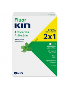 FLUOR KIN COLUTORIO ANTICARIES MENTA 2X500ML