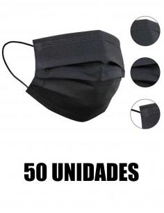 MASCARILLA QUIRURGICA NEGRA ADULTOS 50 UNIDADES