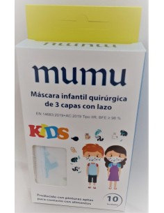 MASCARILLA QUIRURGICA INFANTIL BLANCA DIBUJOS PACK 10 UNIDADES mumu
