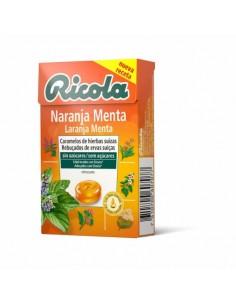 RICOLA CARAMELOS SIN AZUCAR SABOR NARANJA MENTA 50 GRS