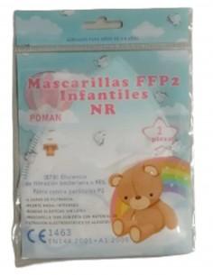 MASCARILLA FFP2 BLANCA INFANTIL POMAN 10 UNIDADES BOLSA DELANTE